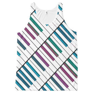 Off Colored Notes Rainbow Piano Music Tank Top