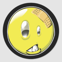 artsprojekt, smiley, expression, bandage, get well soon, Sticker with custom graphic design