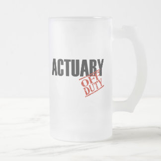 OFF DUTY ACTUARY FROSTED GLASS BEER MUG