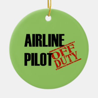OFF DUTY Airline Pilot Double-Sided Ceramic Round Christmas Ornament