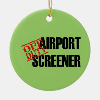 OFF DUTY Airport Screener Double-Sided Ceramic Round Christmas Ornament