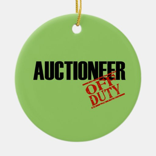 OFF DUTY AUCTIONEER Double-Sided CERAMIC ROUND CHRISTMAS ORNAMENT