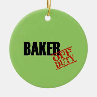 OFF DUTY Baker Double-Sided Ceramic Round Christmas Ornament