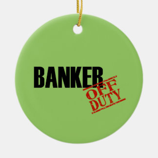 OFF DUTY Banker Double-Sided Ceramic Round Christmas Ornament