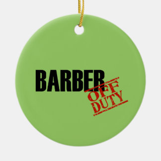OFF DUTY Barber Double-Sided Ceramic Round Christmas Ornament
