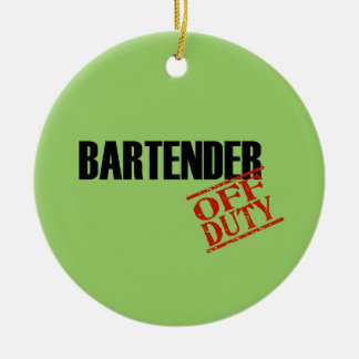 OFF DUTY Bartender Double-Sided Ceramic Round Christmas Ornament