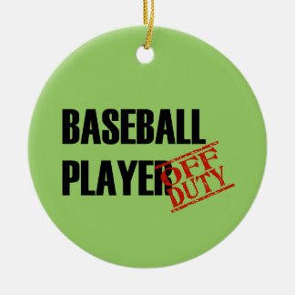 OFF DUTY Baseball Player Double-Sided Ceramic Round Christmas Ornament