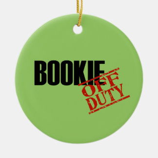 OFF DUTY Bookie Double-Sided Ceramic Round Christmas Ornament
