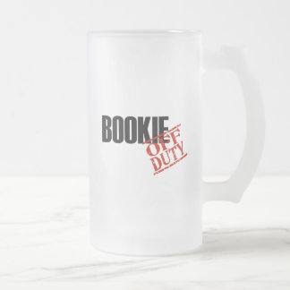 Off Duty Bookie Frosted Glass Beer Mug