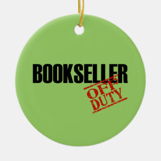 OFF DUTY Bookseller Double-Sided Ceramic Round Christmas Ornament
