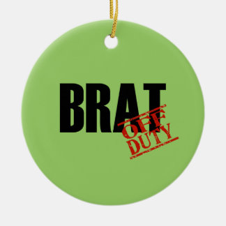 OFF DUTY Brat Double-Sided Ceramic Round Christmas Ornament