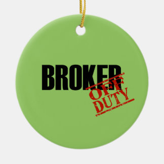 OFF DUTY Broker Double-Sided Ceramic Round Christmas Ornament