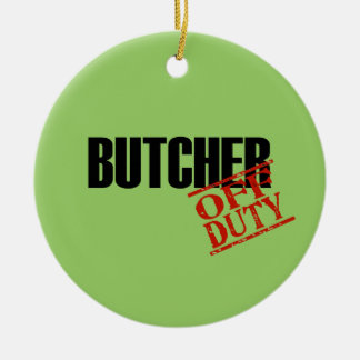 OFF DUTY Butcher Double-Sided Ceramic Round Christmas Ornament