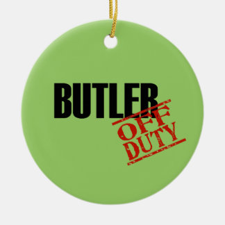 OFF DUTY Butler Double-Sided Ceramic Round Christmas Ornament