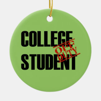 OFF DUTY College Student Double-Sided Ceramic Round Christmas Ornament