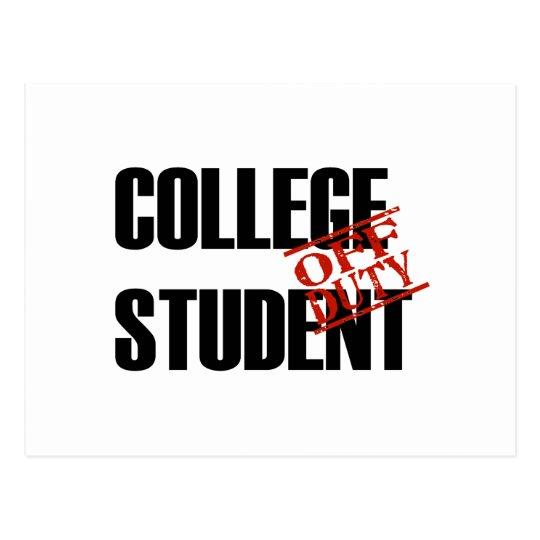 OFF DUTY COLLEGE STUDENT LIGHT POSTCARD