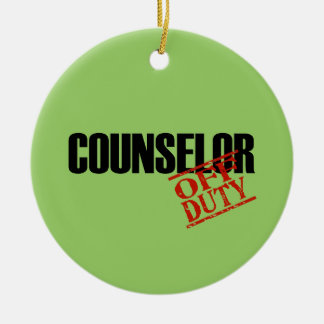 OFF DUTY Counselor Double-Sided Ceramic Round Christmas Ornament