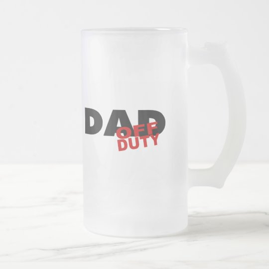 Off Duty Dad (Blk) Frosted Glass Beer Mug