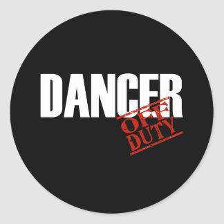 OFF DUTY DANCER DARK ROUND STICKERS