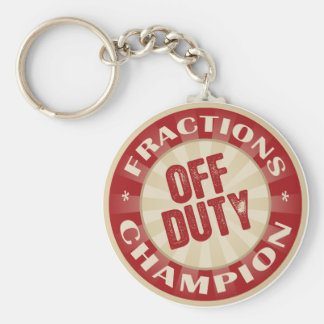 Off Duty Fractions Basic Round Button Keychain