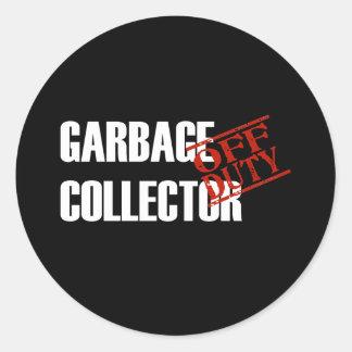 OFF DUTY GARBAGE COLLECTOR DARK CLASSIC ROUND STICKER