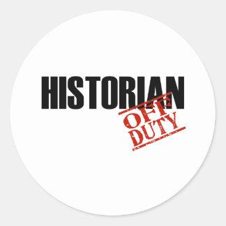 OFF DUTY HISTORIAN LIGHT CLASSIC ROUND STICKER