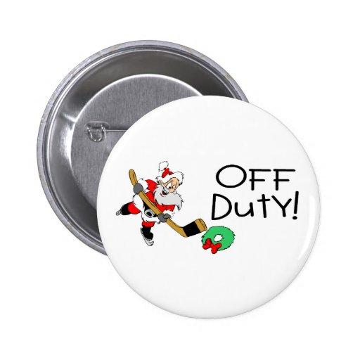 Off Duty Hockey Santa Pin