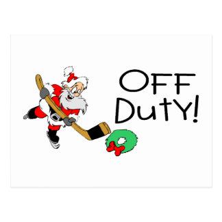 Off Duty Hockey Santa Postcard