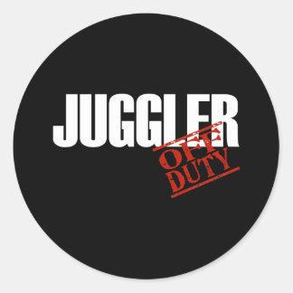 OFF DUTY JUGGLER DARK ROUND STICKERS