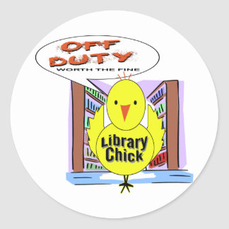 Off Duty Librarian - Worth The Fine Classic Round Sticker