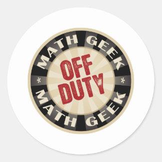 Off Duty Math Geek Round Stickers