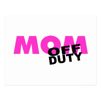 Off Duty Mom (Pink/Blk) Post Cards