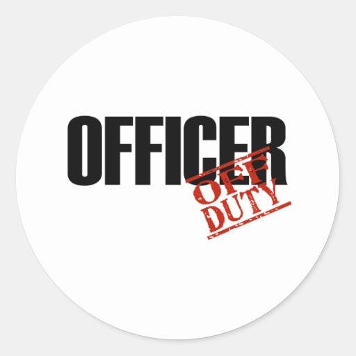 OFF DUTY OFFICER LIGHT CLASSIC ROUND STICKER