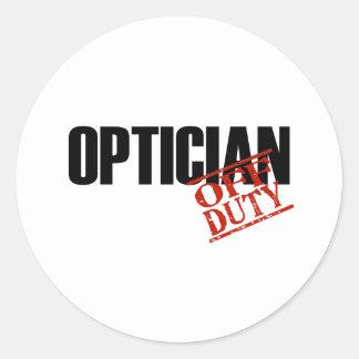 OFF DUTY OPTICIAN LIGHT ROUND STICKERS