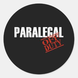 OFF DUTY PARALEGAL DARK ROUND STICKER