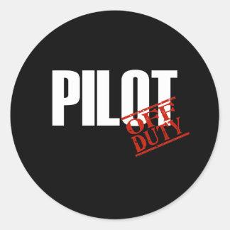 OFF DUTY PILOT DARK CLASSIC ROUND STICKER