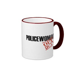 OFF DUTY Policewoman Ringer Coffee Mug