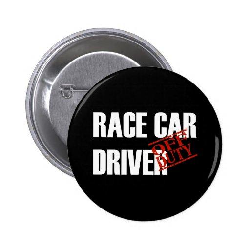 OFF DUTY RACE CAR DRIVER DARK 2 INCH ROUND BUTTON