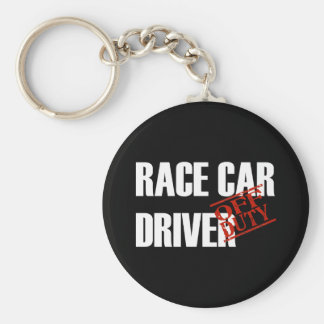 OFF DUTY RACE CAR DRIVER DARK BASIC ROUND BUTTON KEYCHAIN