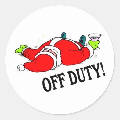 Off Duty Santa (Drunk) Classic Round Sticker