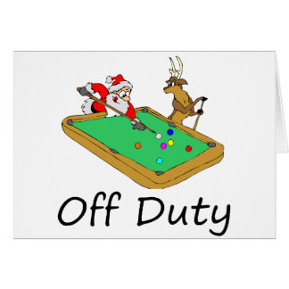 Off Duty Santa (Playing Pool) Card