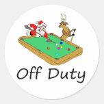 Off Duty Santa (Playing Pool) Classic Round Sticker