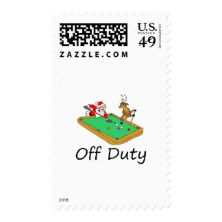 Off Duty Santa (Playing Pool) Postage Stamp