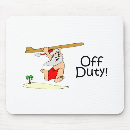 Off Duty Santa (Surfing) Mouse Pad