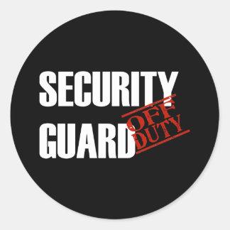 OFF DUTY SECURITY GUARD DARK CLASSIC ROUND STICKER