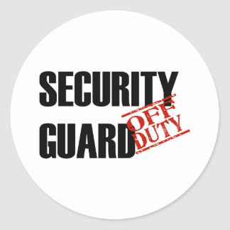 OFF DUTY SECURITY GUARD LIGHT CLASSIC ROUND STICKER