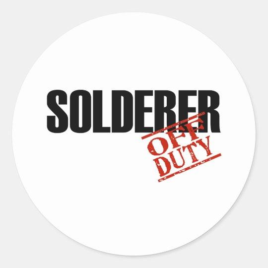 OFF DUTY SOLDERER LIGHT CLASSIC ROUND STICKER