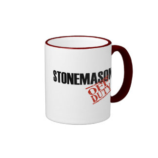OFF DUTY STONEMASON RINGER COFFEE MUG