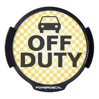 Off Duty Taxi Cab Yellow Checkerboard Light-Up LED Car Window Decal