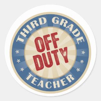 Off Duty Third Grade Teacher Round Stickers